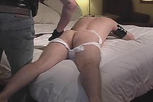 Awesomeinterracial.com- Cute Gay Man Lays On Bed White Boyfriend Spanks