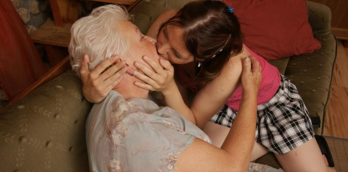 Mature.nl- Horny hot babe doing a lesbian old grandma and enjoys it