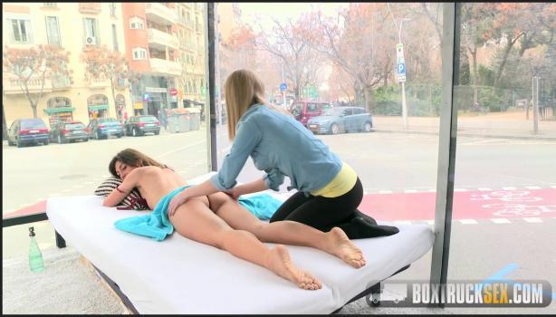 Boxtrucksex.com- Julia Roco and Sicilia Play with a Realistic Dildo in Public