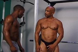 Awesomeinterracial.com- Sexy Gay Black Musclemen in Gym
