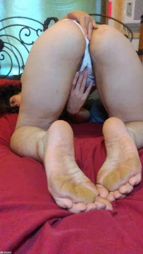 Foot Feet Soles in Doggystyle: Hairy Thick PAWG in Good Girl White Panties Plays Clit Clitoris   PinkMoonLust