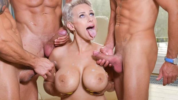 DDFBusty.com- Busty Blonde_s Three on One Fun